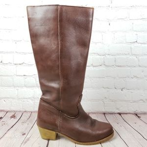 LL Bean Lined Leather Boots Womens 9 Zip Up Shoes
